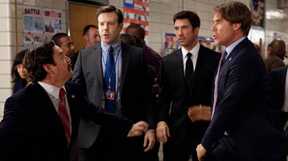 "Zach Galifianakis, Jason Sudeikis, Dylan McDermott and Will Ferrell in ""The Campaign."""