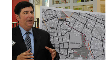 Councilman Bill Peduto talks about the alternate routes involving Reynolds Street in Point Breeze that runs between Frick Park and Mellon Park and does not have as much traffic as Penn Avenue.