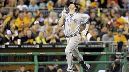 Padres&#039; Chase Headley heads toward home plate after hitting a three-run home run against the Pirates in the fifth inning.