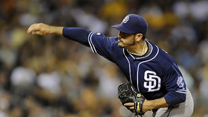 The Padres' Jason Marquis pitches against the Pirates.