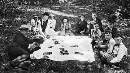 A group of picnickers pause to pose for a picture at Ross Mountain before 1900.
