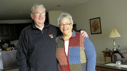 Don and Eileen Albrecht in their retirement home in the Traditions of America Liberty Hills development in Beaver County. &quot;This [area] was always home base,&quot; Mrs. Albrecht said.