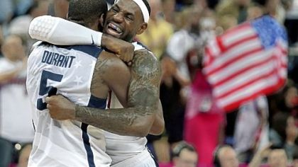 LeBron James and Kevin Durant celebrate after defeating Spain Sunday for the gold medal in London.