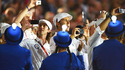 Athletes soak up the atmosphere during the Closing Ceremony on Day 16 of the London 2012 Olympic Games at Olympic Stadium on Sunday in London, England.