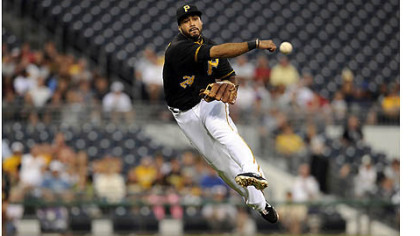 The Pirates' Pedro Alvarez throws out the Dodgers' Matt Kemp in the first inning Tuesday night at PNC Park.