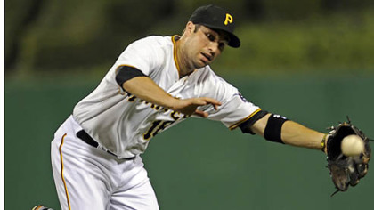Pirates&#039; Neil Walker can&#039;t come up with a ball hit by Dodgers&#039; Andre Ethier in the sixth inning Monday night at PNC Park.