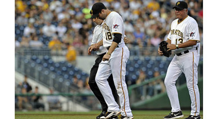 The Pirates&#039; Neil Walker is taken off the field after getting an injury to his right hand after a double play attempt on the Dodgers&#039; Mark Ellis in the first inning at PNC Park Wednesday night.