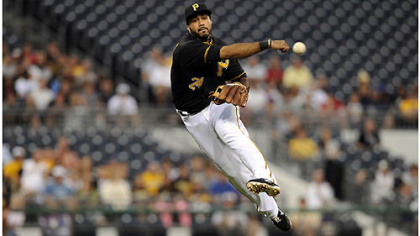 Pirates' Pedro Alvarez throws out Dodgers' Matt Kemp in the first inning Tuesday night at PNC Park.