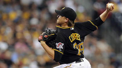 Pirates' Kevin Correia pitches against the Dodgers Tuesday night at PNC Park.