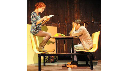 "Karen Baum and Don DiGiulio in No Name Players' production of Neil Labute's ""reasons to be pretty."""