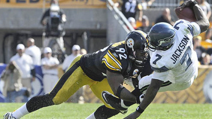 James Harrison sacks Seattle quarterback Tarvaris Jackson during a game last season at Heinz Field.