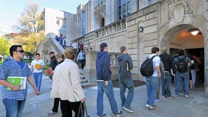 From April 9, 2012: A line snaked out the door at the ground floor entrance to the Cathedral of Learning along Bigelow Blvd. Monday morning as increased security procedures took effect in the wake of multiple bomb threats on the Pitt campus.