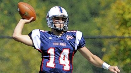 Robert Morris quarterback Jeff Sinclair, a Highlands High School grad, passed for 1,373 yards and 11 touchdowns last year.
